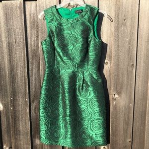 TAHARI Emerald Green Roses Jacquard Dress Size 4
